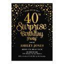 surprise 40th birthday party - black & gold invitation