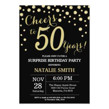 surprise 50th birthday black and gold diamond invitations