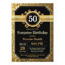 surprise 50th birthday invitations black and gold