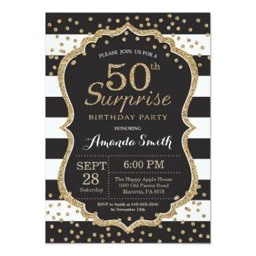 Small Surprise 50th Birthday Invitation. Gold Glitter Invitations Front View