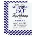 surprise 50th birthday navy blue chevron invitations