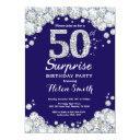 surprise 50th birthday navy blue silver diamond invitation