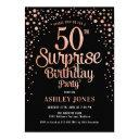 surprise 50th birthday party - black & rose gold invitation