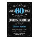 surprise 60th birthday invitation blue and black