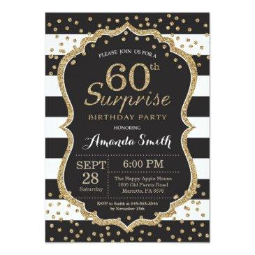 Small Surprise 60th Birthday Invitation. Gold Glitter Invitations Front View