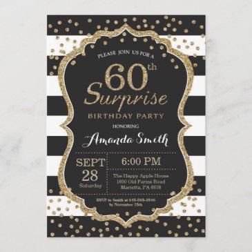 surprise 60th birthday invitation. gold glitter invitation
