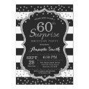 surprise 60th birthday invitation. silver glitter invitation