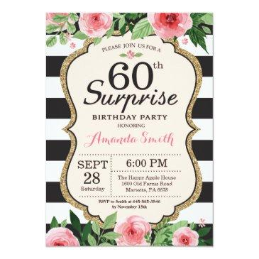 surprise 60th birthday invitation women floral