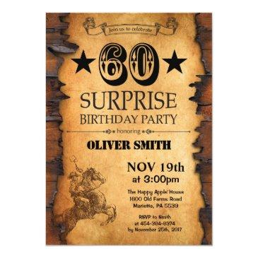 Surprise 60th Western Birthday Invitations