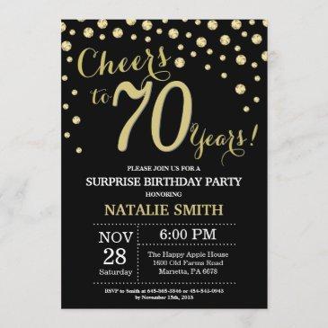 surprise 70th birthday black and gold diamond invitation