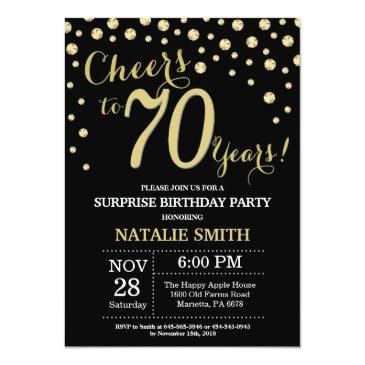 Small Surprise 70th Birthday Black And Gold Diamond Invitation Front View