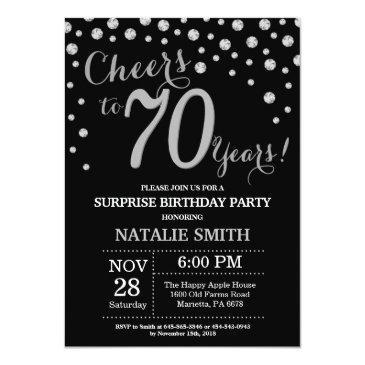 Small Surprise 70th Birthday Black And Silver Diamond Invitation Front View