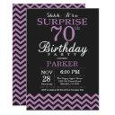 surprise 70th birthday invitations black and purple