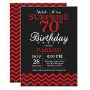 surprise 70th birthday invitation black and red