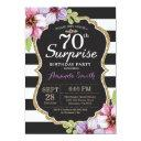 surprise 70th birthday invitations floral gold