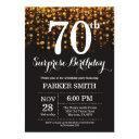surprise 70th birthday invitations gold glitter
