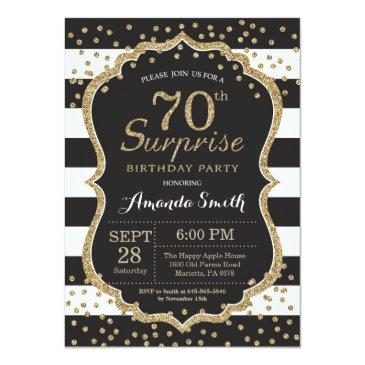 Small Surprise 70th Birthday Invitation. Gold Glitter Invitations Front View