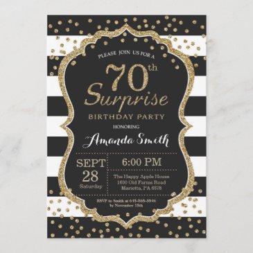 surprise 70th birthday invitation. gold glitter invitation
