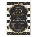 surprise 70th birthday invitations. gold glitter invitations