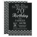 surprise 70th birthday invitation silver glitter