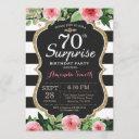 surprise 70th birthday invitation women floral
