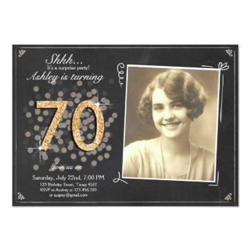 surprise 70th birthday invite chalkboard vintage