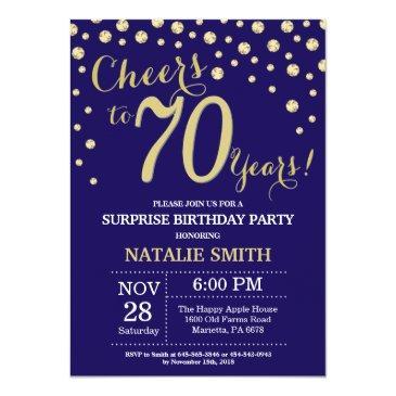 surprise 70th birthday navy blue and gold diamond invitation
