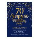 surprise 70th birthday party - navy & gold invitation