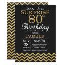 surprise 80th birthday invitation gold glitter