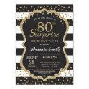 surprise 80th birthday invitation. gold glitter invitation