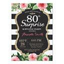 surprise 80th birthday invitations women floral
