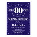 surprise 80th birthday navy blue and white invitations