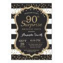 surprise 90th birthday invitations. gold glitter invitations