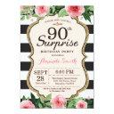 surprise 90th birthday invitations women floral