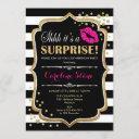 surprise birthday party - black pink gold invitation