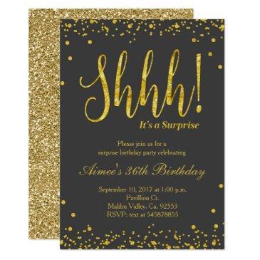 surprise birthday party invitations black gold