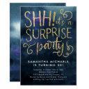 surprise birthday party navy blue gold invitation