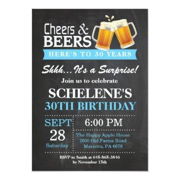 Small Surprise Cheers And Beers 30th Birthday Invitations Front View