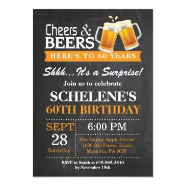 surprise cheers and beers 60th birthday invitations