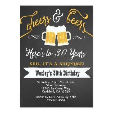 surprise cheers & beers birthday party invitations