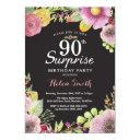 surprise floral 90th birthday invitations for women