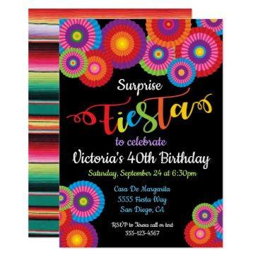 surprise party fiesta paper flower fans invites
