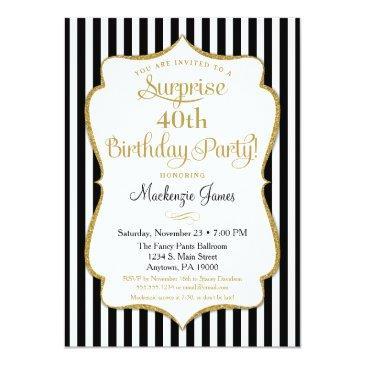 surprise party invitations black gold elegant adult
