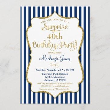 surprise party invitation navy blue gold elegant