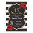 surprise red rose 13th birthday invitation gold