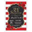surprise red rose 21st birthday invitation gold