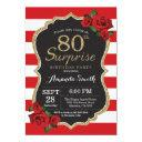 surprise red rose 80th birthday invitations gold
