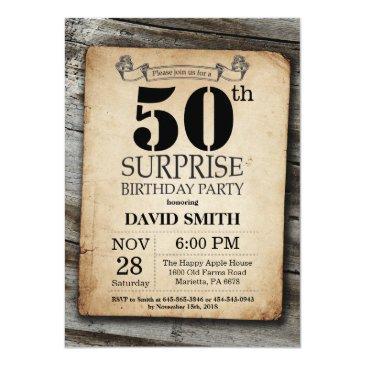 surprise rustic 50th birthday invitations vintage