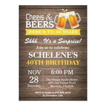 surprise rustic cheers and beers 40th birthday invitations