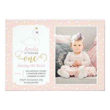 swan lake girls 1st birthday invitations